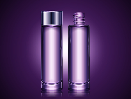 Purple blank container set, cosmetic mockup for design uses in 3d illustration, set of glass tall bottle