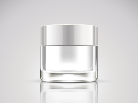 Pearl white cream jar mockup, blank cosmetic container in 3d illustration
