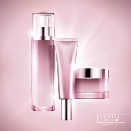 Blank cosmetic container set, light pink series bottle and jar for design uses in 3d illustration Vectores