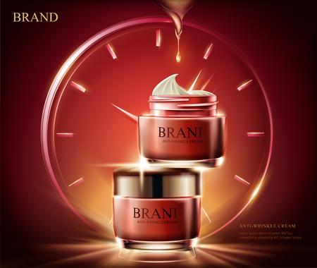 Anuncios de crema antiarrugas, frasco cosmético de crema roja con efecto de luz compuesto por un reloj en la ilustración 3d, fondo rojo