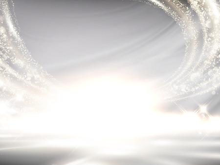 キラキラパールホワイトの背景、3Dイラストでデザイン用途にエレガントな波状光効果  イラスト・ベクター素材