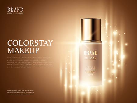 Foundation product ads, makeup essential product with glittering elements in 3d illustration.