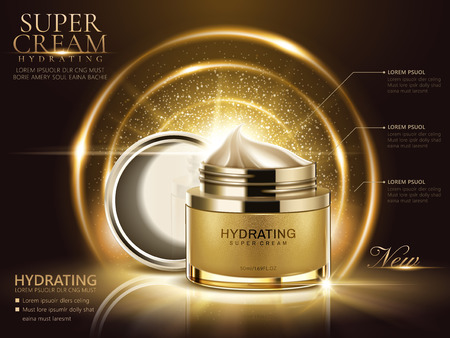 Hydrating cream ads, golden cream jar with open lid and glittering decorative elements in 3d illustration.
