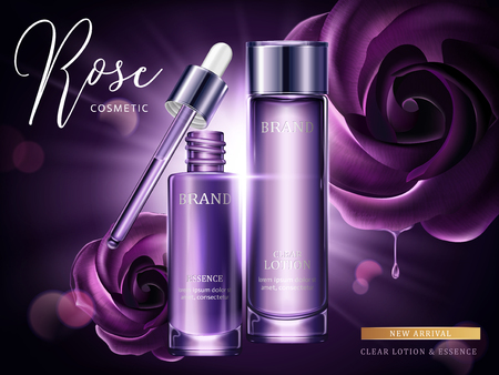 Rose cosmetic ads, droplet and glass bottle in purple with burst light in 3d illustration, purple roses.