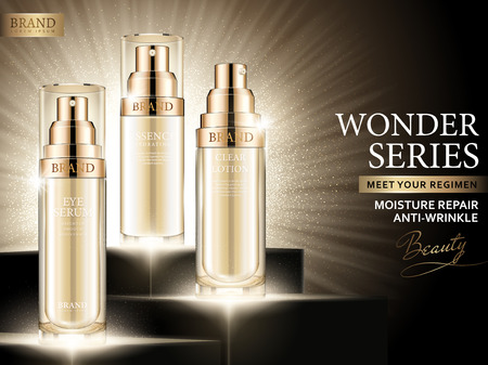 Moisture repair ads, cosmetic golden spray bottle set in 3d illustration with glowing background. 일러스트