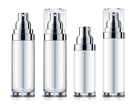 ●ブランクスプレーセット、シルバーとホワイトのコスメティックコンテナモックアップテンプレートは3Dイラストで白い背景に分離。  イラスト・ベクター素材