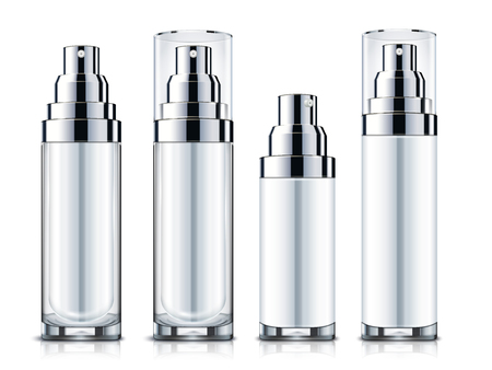 Blank sprays set, silver and white cosmetic containers mock-up template isolated on white background in 3d illustration.