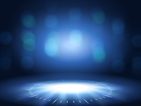 Glittering bokeh background, blue color decorative wallpaper for design uses.