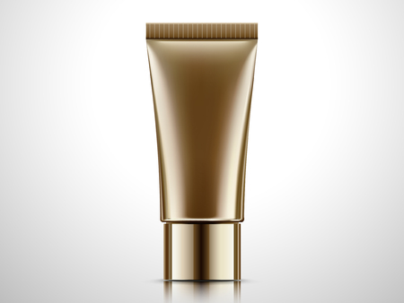Blank bronze tube mock-up, cosmetic container isolated on light grey background in 3d illustration.