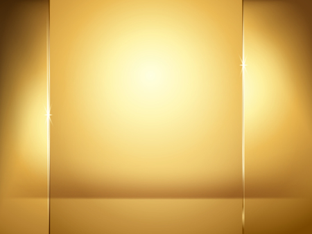 Abstract golden background, illumination and glass plate elements in 3d illustration.
