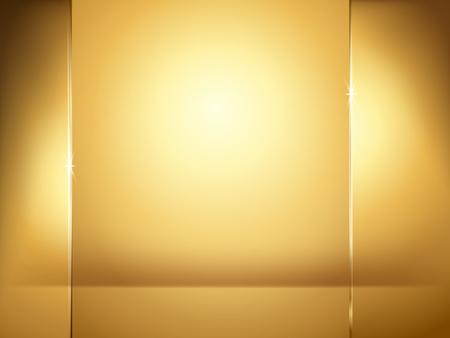 Abstracte gouden achtergrond, verlichtings en glasplaatelementen in 3d illustratie.
