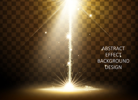 Glittering golden light effect, straight sparkling light isolated on transparent background, 3d illustration. 向量圖像