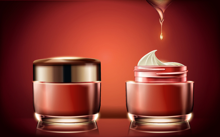 Red cream jar mockup, blank cosmetic container template for design use with cream texture in 3d illustration, glowing red background