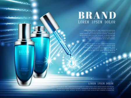 Cosmetic product ads, blue droplet bottle set with double helix structure composed of light in 3d illustration