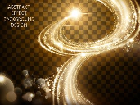빛나는 황금 조명 효과, 투명 한 배경에 고립 된 마법의 물결 모양의 스파클링 빛, 3d 그림