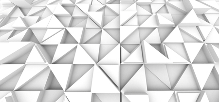 Geometric triangle background, white 3d render relief wallpaper for design uses Banco de Imagens