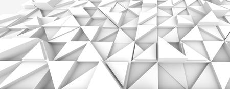 幾何学的な三角形の背景、デザイン用途のための白い3Dレンダリングレリーフ壁紙