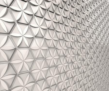White hexagon background, floral pattern on polygonal shape in 3d render Banco de Imagens