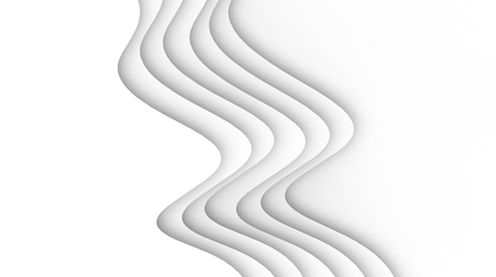 White wave paper background, curved reliefs or steps in 3d render Banco de Imagens