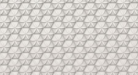 白い六角形の背景、3D レンダリングのポリゴンシェイプ上の花のパターン、トップビュー 写真素材