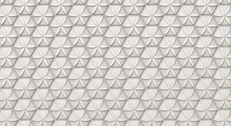 White hexagon background, floral pattern on polygonal shape in 3d render, top view