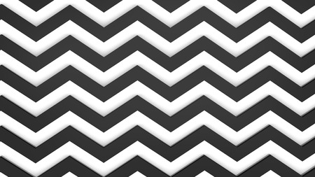 Modern 3d render background, zigzag pattern in white and black