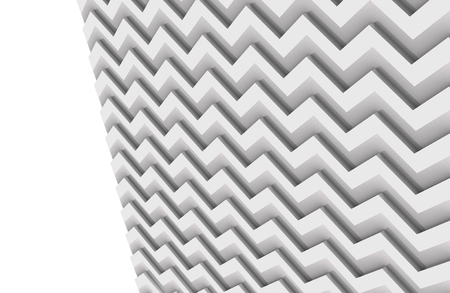 Modern 3d render background, zigzag pattern in white and grey