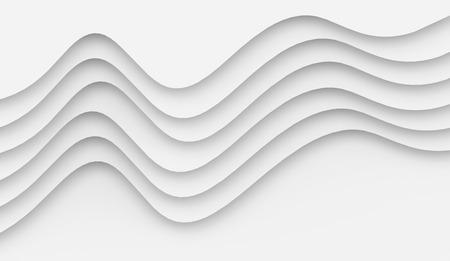 ホワイトウェーブペーパーの背景、3Dレンダリングの曲線レリーフまたはステップ
