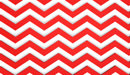 Modern 3d render background, zigzag pattern in white and red