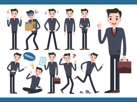 Businessman character collection, lovely office worker in different actions and facial expression Banco de Imagens - 94208988
