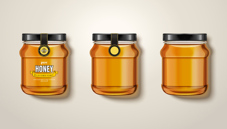 純粋な蜂蜜瓶モックアップ、3Dイラストの蜂蜜とガラス瓶のトップビュー、ラベルとパッケージデザインを持つものもあります