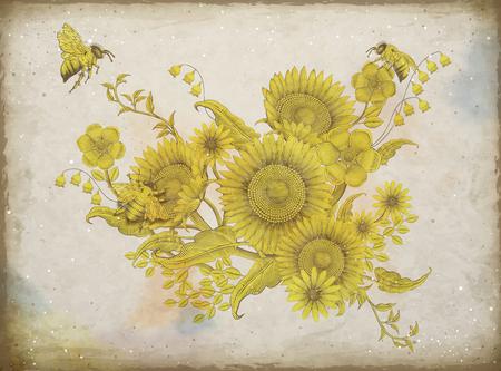 レトロなエレガントな花のデザイン、ベージュのトーンにシェーディングヒマワリとミツバチのデザインをエッチング