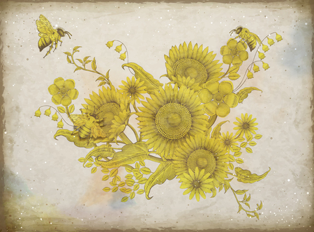 Retro elegant floral design, etching shading sunflowers and bees design on beige tone