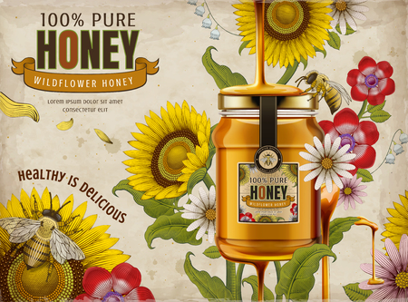 Annunci di miele di fiori selvatici, delizioso miele gocciolante dall'alto con un barattolo di vetro in 3d illustrazione, elementi di fiori retrò in stile di ombreggiatura, tono colorato