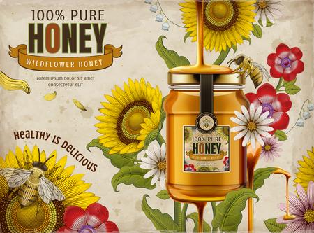 Anuncios de miel de flores silvestres, deliciosa miel que gotea desde la parte superior con frasco de vidrio en la ilustración 3d, elementos de flores retro en estilo de sombreado, tono colorido