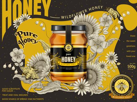 現代の蜂蜜広告、3Dイラストのガラス瓶は、エッチングシェーディングスタイル、黄色と暗い茶色のトーンでレトロな花の要素に分離