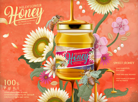 Attractive honey ads, honey dripping from top on the glass jar in 3d illustration with elegant flowers elements, etching shading style background in orange tone Illustration