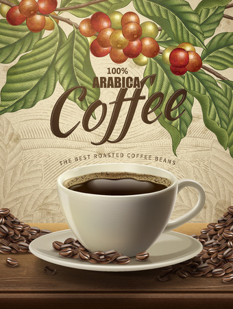 Arabica coffee ads, realistic black coffee and beans in 3d illustration with retro coffee plants and field scenery in etching shading style