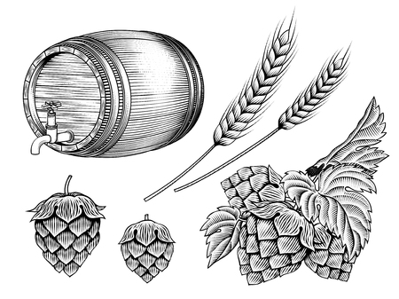 Beer ingredients set, barrel, wheat ears and hops in etching shading style on white background Vettoriali