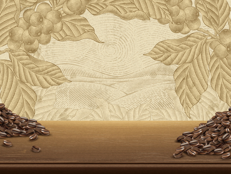 Retro coffee plants background, realistic wooden table and coffee beans in 3d illustration, field scenery in etching shading style