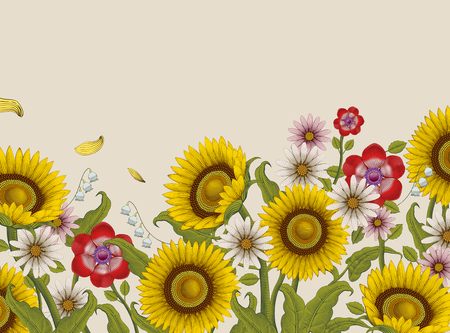 Decorative flowers design, sunflowers and wildflowers in etching shading style on beige background, colorful tone Illustration