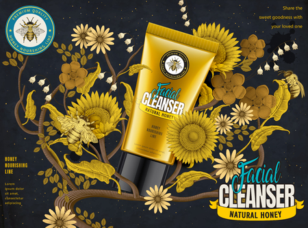 Honey facial cleanser ads, cosmetic tube in 3d illustration with elegant flowers elements in etching shading style, dark blue and yellow tone
