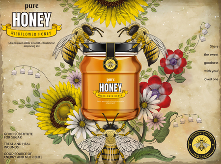 Retro honey ads, glass jar in 3d illustration with honey bees and elegant flowers around it, etching shading style background Illustration