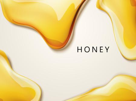Honings vloeibare textuur, gouden honing in 3d illustratie voor ontwerpgebruik