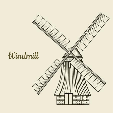レトロ風車ベクトルイラスト