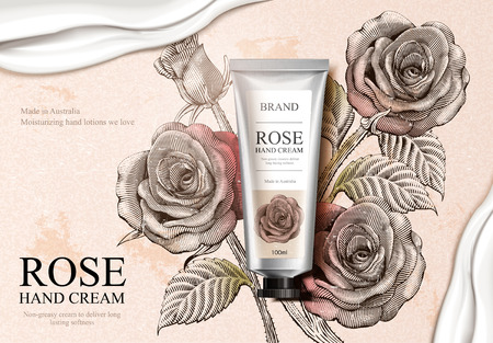 Exquisite hand cream product and creamy texture in 3d illustration with roses decorations in etching shading style vector illustration