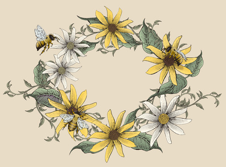 Retro elegant flowers in circular design vector illustration