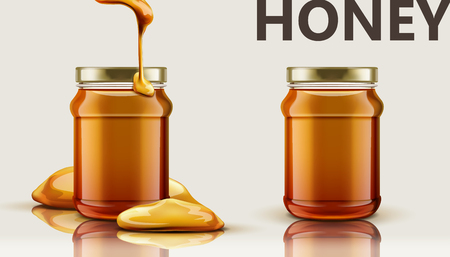 Pure honey jar mock up vector illustration Çizim