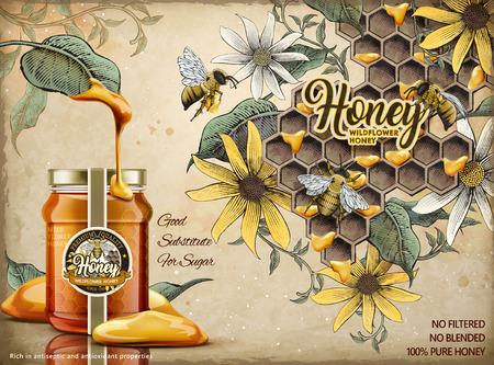 Natural honey ads design template vector illustration