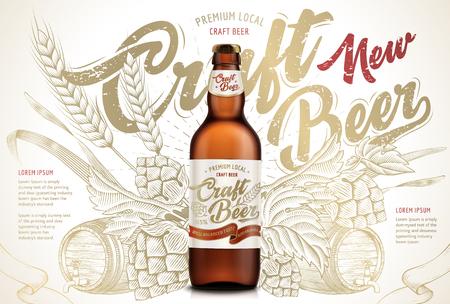 Ambachtelijke bier advertenties ontwerp sjabloon vectorillustratie Stock Illustratie